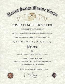 USMC Combat Engineer School, Certificate
