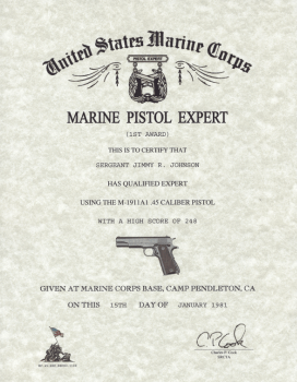 USMC Pistol Qualification Certificates