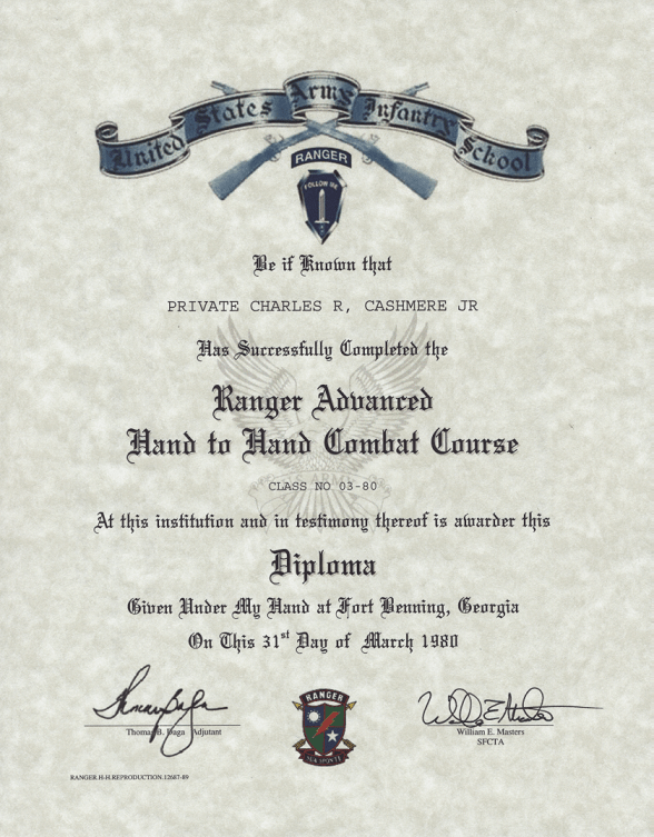 Army Ranger Advanced Hand to Hand Combat Course Certificate