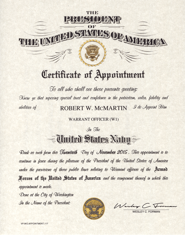 Warrant Officer Appointment Certificate