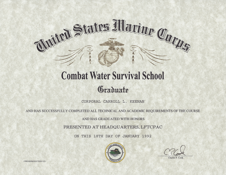 USMC Combat Water Survical School Certificate