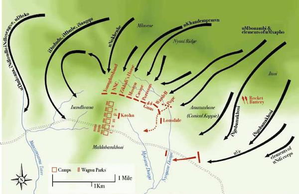 Map of the Battle of Isandlwana, 22 January 1879