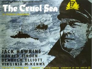 THE CRUEL SEA Poster for 1953 Ealing Studios film with Jack Hawkins