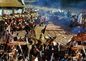 A dramatic scene from Zulu in 1964. Although much-loved, the film was not without its historical inaccuracies, especially surrounding the attack on Rorke's Drift.