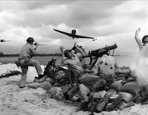 A dramatic battle scene from Tora! Tora! Tora! which depicts the Japanese attack on Pearl Harbor with notable accuracy.