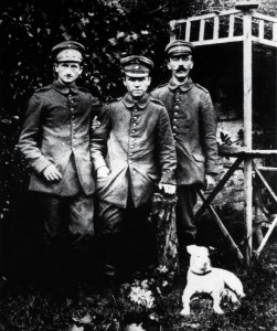 Hitler at war (on the right). He spent most of his time at a relatively cushy post as regimental dispatch-runner. His mediocrity must have been apparent to his superiors: he was never promoted beyond lance-corporal despite massive casualties in four years of attritional warfare.