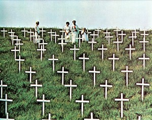 The famous final scene with a vast field of crosses.
