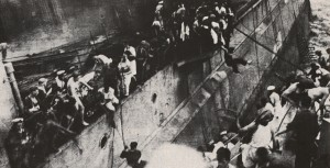 The abandonment of the sinking Repulse, one of two capital ships sent to support Singapore and sunk within a week of arrival in theatre.