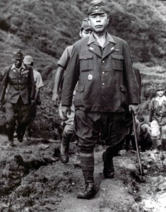 Yamashita emerges from the depths of the battlefield to give his surrender at the end of the Second World War.