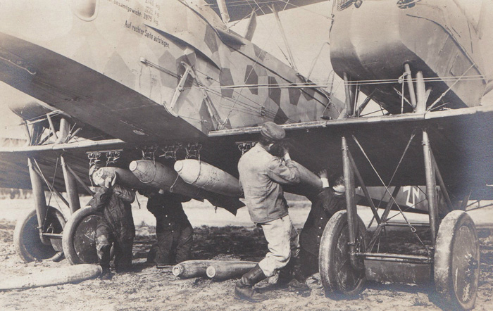 A Gotha loaded with bombs for a night raid.