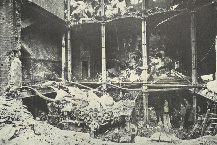 The destruction caused at Odhams Printing Works by a 300kg bomb dropped from Giant R12.