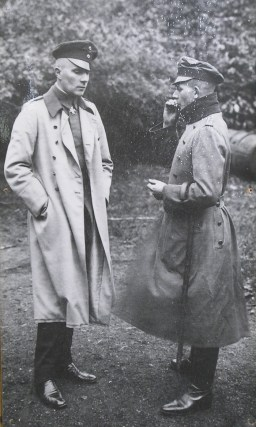 Hauptmann Rudolf Kleine (on the left) took command of Kagohl 3 after Brandenburg suffered serious injury when his aircraft crashed.