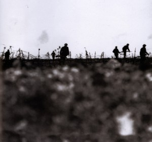 British infantry advance across no-man's land in an open attack formation in 1917.