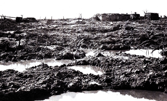 The sodden 'crater-field' at Passchendaele.