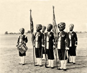 Colour-Party-of-the-45th-(Rattray's-Sikh)-Regiment-of-Bengal-Infantry,-1897-(c).-Photograph-by-Frederick-Bremner,-India,-1897-(c)