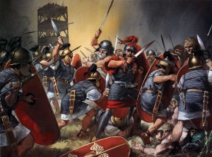 Roman-legionaries-in-action-at-Alesia