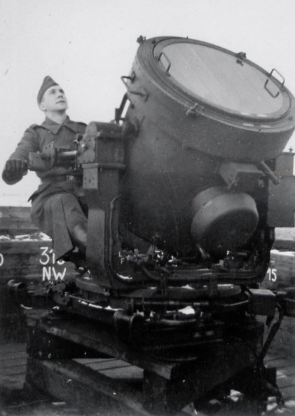 Photograph of a German flak searchlight. The German pre-dawn attack was illuminated by bouncing light off low clouds.