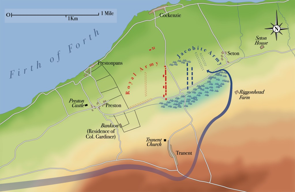 The Battle of Prestonpans, 21 September 1745: map showing the route of the Jacobite night march, and the realignment of the armies. Click on the image for a larger view. [Map: Ian Bull]