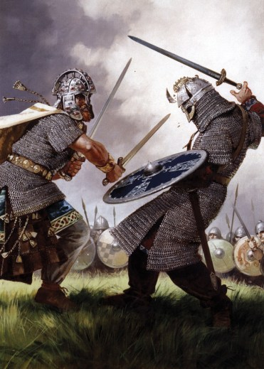 Colour illustration depicting a clash between Vikings and Anglo-Saxons