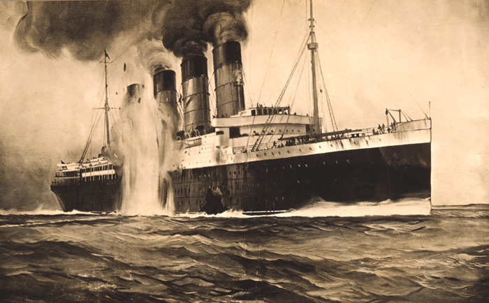 This contemporary postcard shows the second, internal explosion in the form of a second torpedo strike, in line with common belief at the time. In fact, the Lusitania was sunk by a single torpedo. Image: Anthony Richards