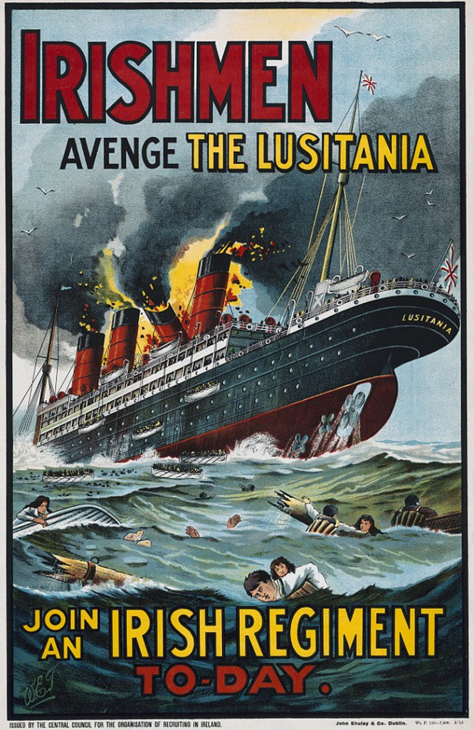 The Lusitania as war propaganda. Allied recruitment posters made full use of the disaster – in Britain, Ireland, and Canada. Images: Library of Congress