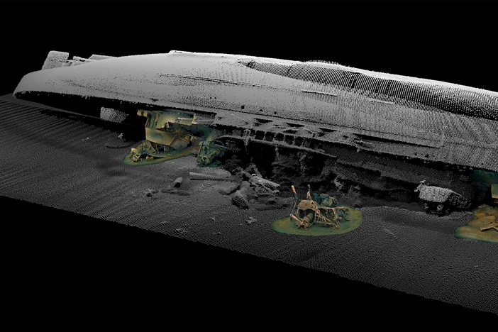 A digitised image  of HMS Royal Oak, which lies 33 metres underwater. Photo: Chris Rowland / Dundee University