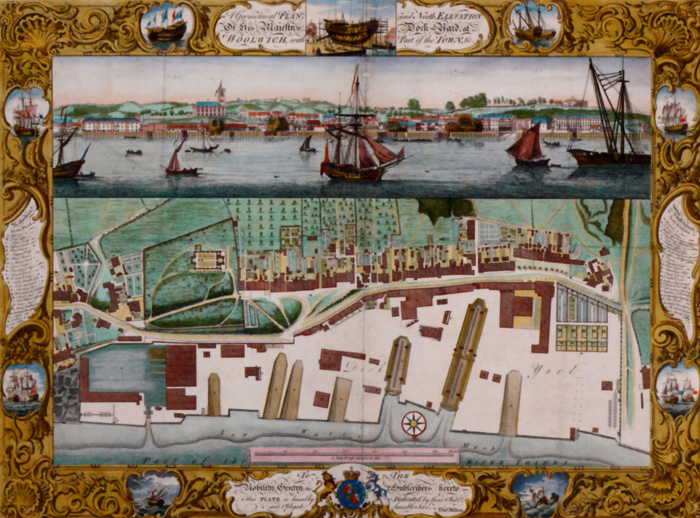 A plan and view of the great dockyard at Woolwich in London by Pierre-Charles Canot, 1753.