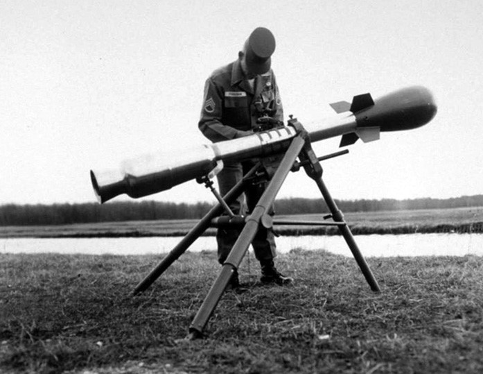 A Davy Crockett battlefield nuke on its launcher.