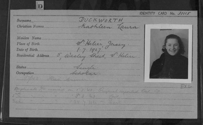 Kathleen Duckworth's registration card; she was still at school when convicted for her political offence. Image: Jersey Heritage