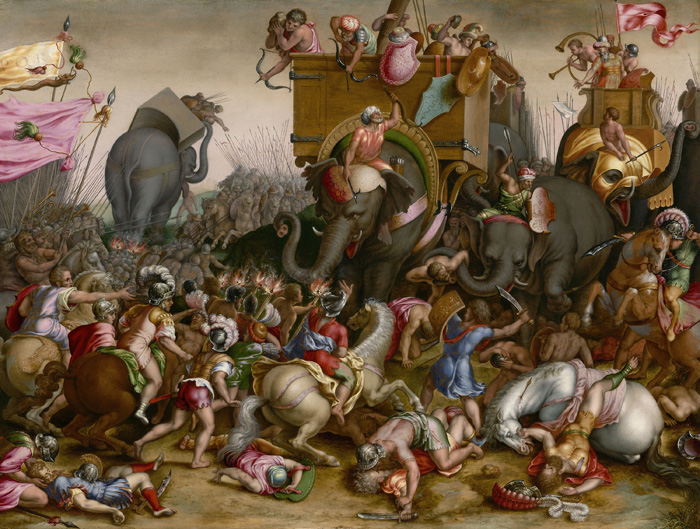 The Battle of Zama, 202 BC. Detail from a painting by Cornelis Cort, c.1567.