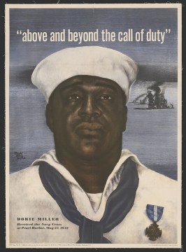 Miller's celebrity was such that his image was used in a 1943 Navy recruitment poster. He was killed aboard USS Liscome Bay later the same year.