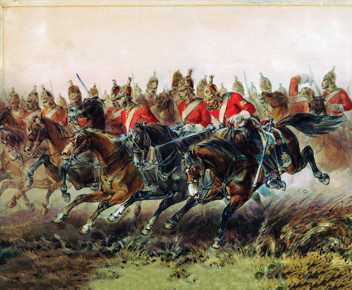 The Charge of the Light Brigade during the Battle of Balaklava, 1854. Detail from a painting by Michael Angelo Hayes. Credit: Alamy.