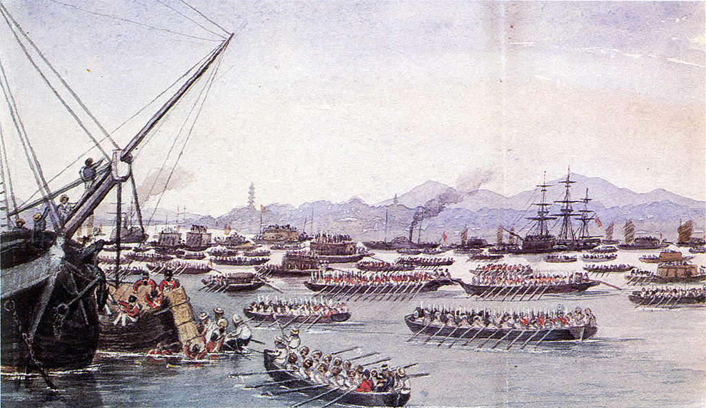 The British assault on Canton, China in 1841, during the First Opium War.