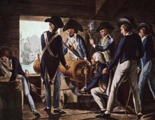 A gun crew of Nelson's Navy. The superiority of British gunnery was a decisive factor in the war at sea.