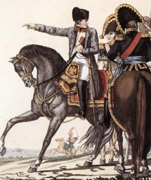 Napoleon and his generals. Nelson's victory at Trafalgar in 1805 put paid to the French Emperor's plans to invade England.