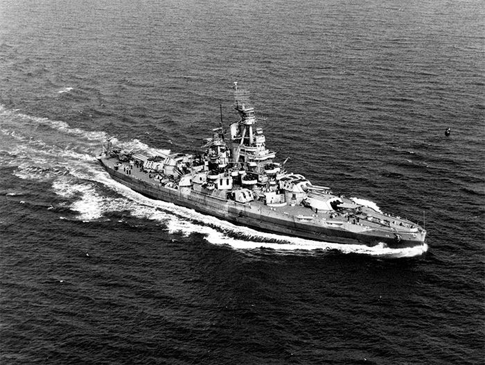 USS Nevada on 17 September 1944. The battleship saw action at Pearl Harbor, D-Day, and Okinawa.