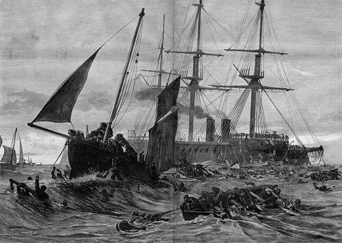 The ship sank in May 1878 during a training exercise in the English Channel, as depicted in this sketch.