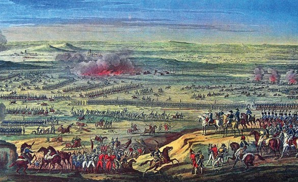 The Battle of Austerlitz, 2 December 1805. The scene shows the French Emperor with his staff on a hilltop surveying the battle. It is not immediately clear whether the vantage-point is meant to be the Zurlan Plateau or the Pratzen Heights; nonetheless, the reconstruction gives a fair impression of the density of a Napoleonic battle