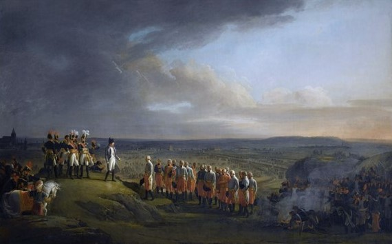 General Mack surrenders to Napoleon at Ulm in October 1805.