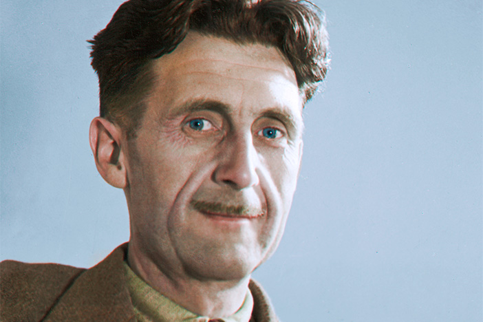 A colourised image of Orwell c.1940.