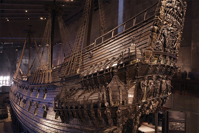 Vasa today, lifted from the seabed and housed in a dedicated museum in central Stockholm.