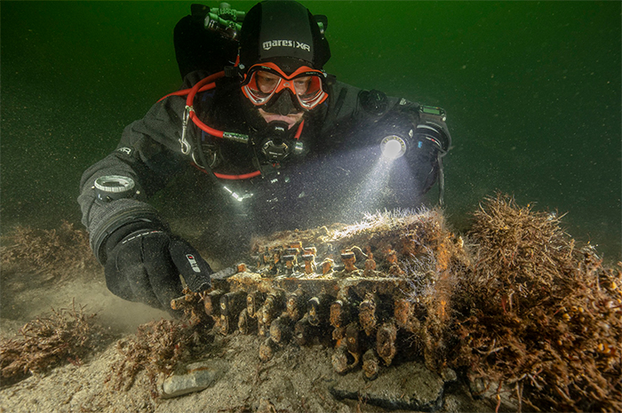 The Enigma machine found in the Baltic Sea, off the coast of Germany. Although mass-produced during the war, the machines are now extremely rare. Images: Christian Howe/Florian Huber/Uli Kunz/Submaris.