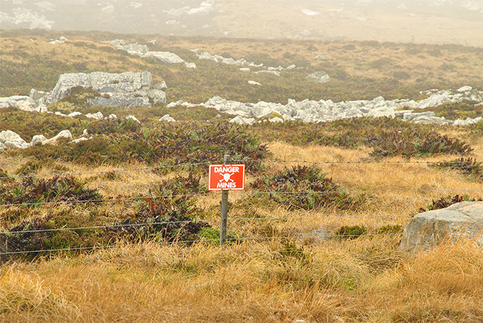 A sign warning of mines on the Falkland Islands – a common sight since the war in 1982.