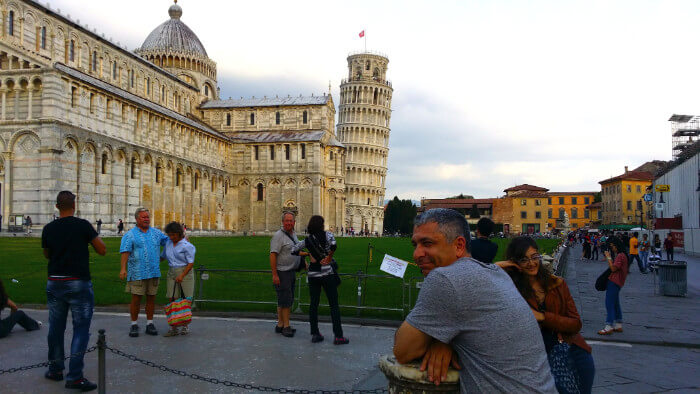 Mitch Bank at the Leaning Tower of Pisa