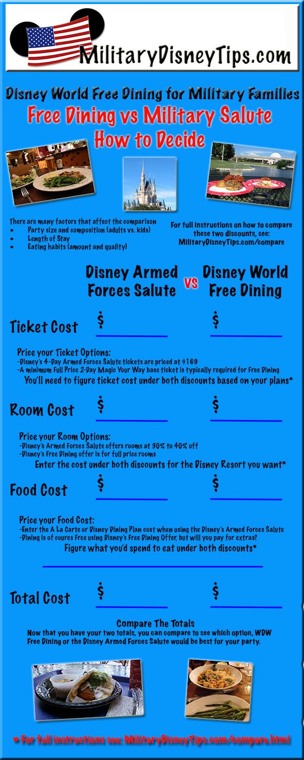Disney world free dining for military families military How to get free dining at disney