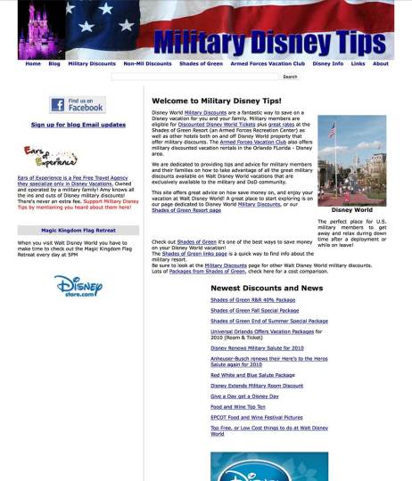 Military Disney Tips Through the Years - 2010