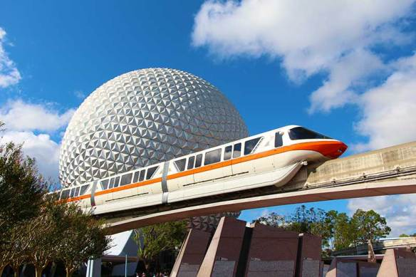 The Epcot Monorail Loop runs from the Transportation and Ticket Center to the Epcot station