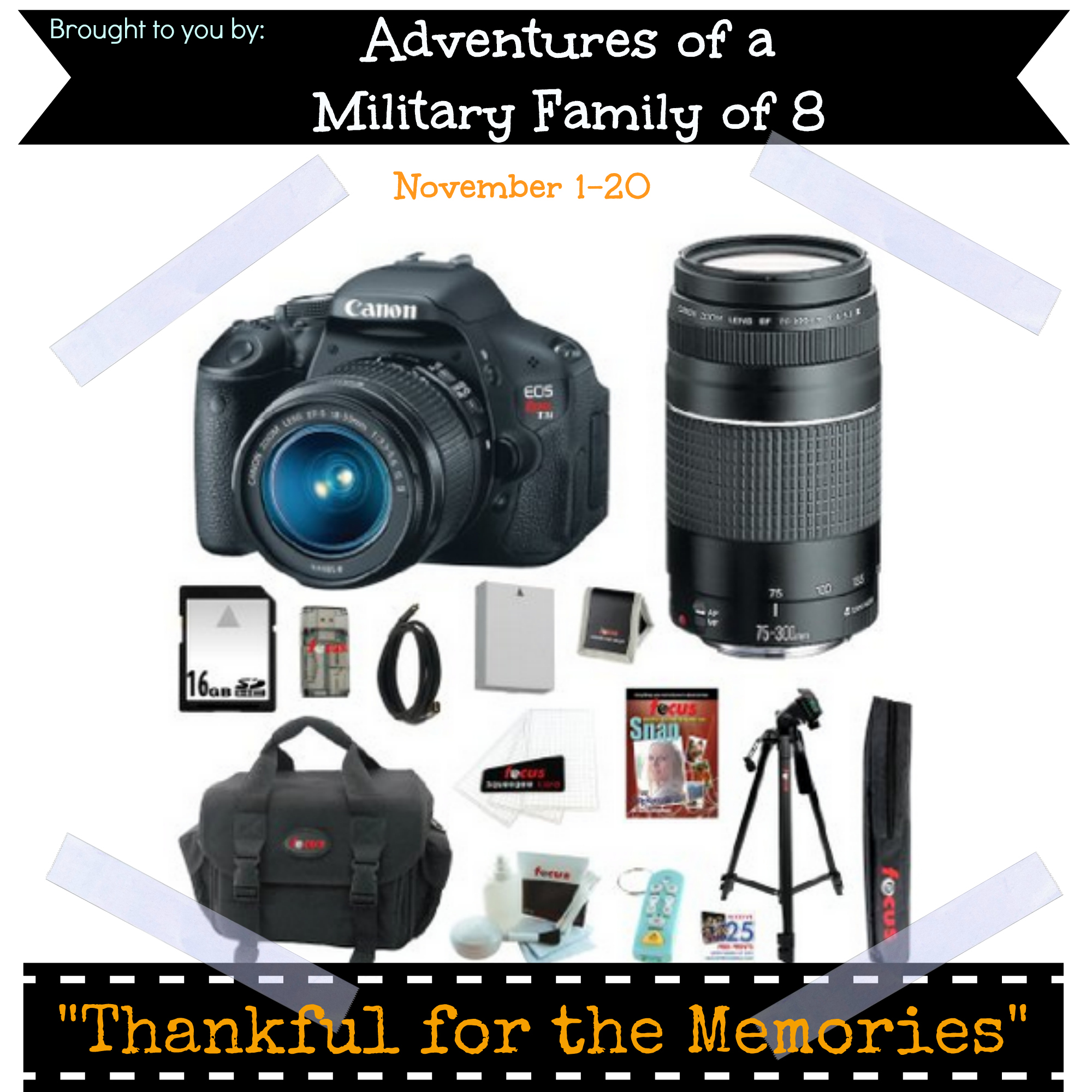 Thankful for the Memories Giveaway: Canon EOS Rebel T3i kit