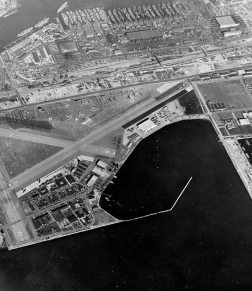 Reeves Field in 1944. the enclosed area in the center is its seaplane launch, and the area on the right is the just-built Roosevelt Navy Base and Dry Dock and mole (a wide breakwater which could be drive on)