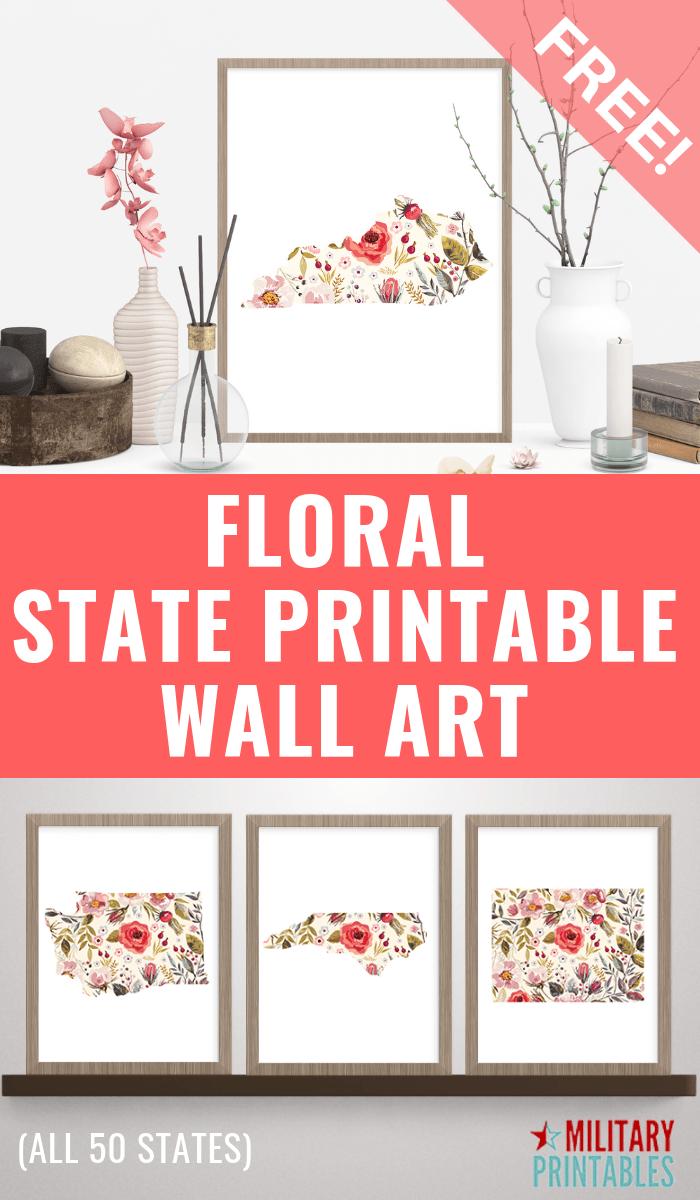 Floral Free State Printable #stateprintable #printable #printables #statewallart #wallart #wallartprintable